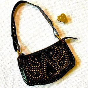 Nordstrom Black Leather Studded Shoulder Bag